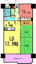 朝日プラザ高松多賀町[602号室]の間取り