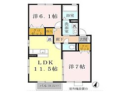 兵庫県神戸市垂水区下畑町字石畳の賃貸アパートの間取り