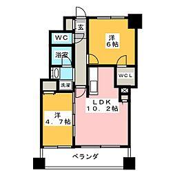 エミリブ東長崎 8階2LDKの間取り