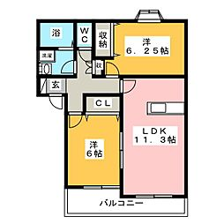 ソレイユA[1階]の間取り