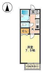 愛知県名古屋市名東区社が丘4の賃貸アパートの間取り