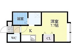 札幌市営南北線 麻生駅 徒歩10分の賃貸マンション 4階1Kの間取り