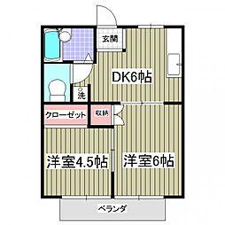 埼玉県行田市城西1丁目の賃貸アパートの間取り