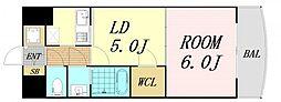 JR東海道・山陽本線 新大阪駅 徒歩8分の賃貸マンション 17階1LDKの間取り