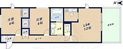 近鉄奈良線 瓢箪山駅 徒歩15分の賃貸アパート 1階2LDKの間取り