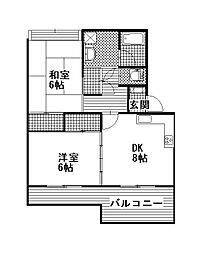 中菅谷ハイツ[301号室]の間取り