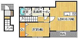 JR山陽本線 庭瀬駅 徒歩16分の賃貸アパート 2階1LDKの間取り
