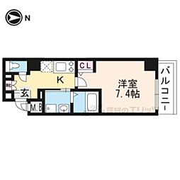 エスカーサ京都四条梅津401 4階1Kの間取り