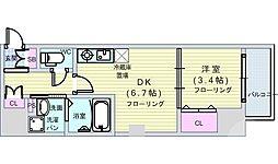 Osaka Metro長堀鶴見緑地線 松屋町駅 徒歩1分の賃貸マンション 2階1DKの間取り