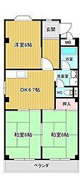 シャンポール原I[2階]の間取り