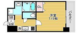 JPレジデンス大阪城東III 6階1Kの間取り