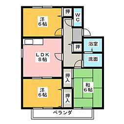 プチセジュールII 東棟[2階]の間取り