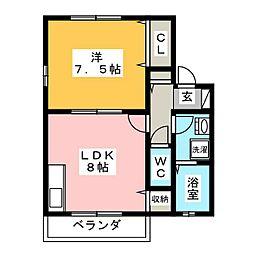 シェ・モア志都呂A[1階]の間取り