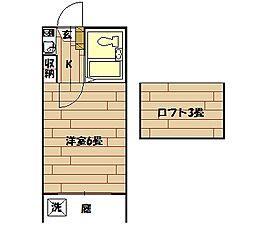 下里アパート[108号室]の間取り