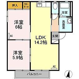 愛知県西尾市桜町溜池の賃貸アパートの間取り