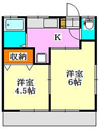 第1川奈部荘[101号室]の間取り
