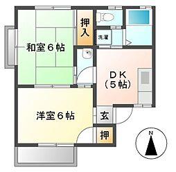 愛知県北名古屋市徳重吉原の賃貸アパートの間取り