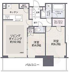 シティタワーズ東京ベイセントラルタワー 14階2LDKの間取り
