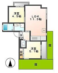 マンション汐見II[1階]の間取り