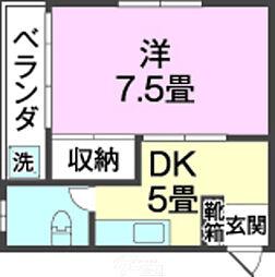 金城アパート 3階1DKの間取り