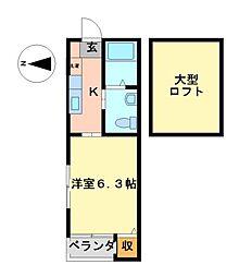 ヴィラ志賀本通(Villa)[2階]の間取り