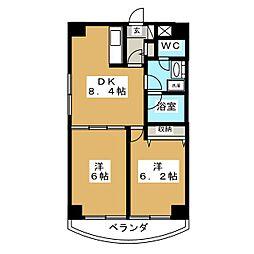 K−1二日町[4階]の間取り