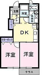 埼玉県川越市大字木野目の賃貸アパートの間取り