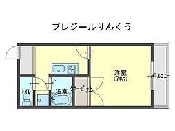 プレジールりんくう[2階]の間取り