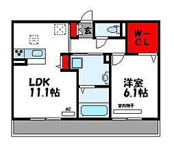 D-room宝満 2階1LDKの間取り
