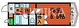 岡山県岡山市北区野田1丁目の賃貸マンションの間取り