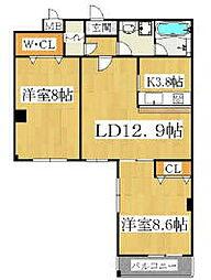兵庫県神戸市垂水区城が山2丁目の賃貸マンションの間取り