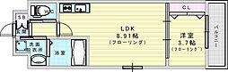V-ランコントル吹田 9階1LDKの間取り