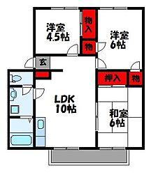 JR香椎線 和白駅 徒歩13分の賃貸アパート 2階3LDKの間取り
