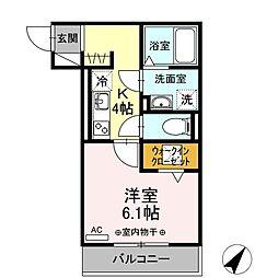 仮称)D-room東静岡 1階1Kの間取り