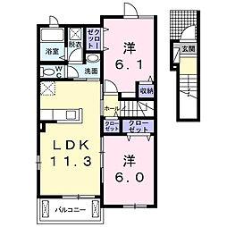 ペック K[2階]の間取り