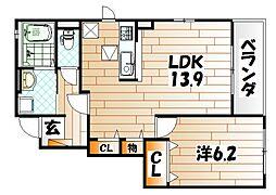 ドミール赤坂[1階]の間取り