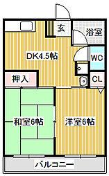 愛知県名古屋市中川区東起町3丁目の賃貸アパートの間取り