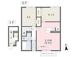 福島交通 桜水駅 徒歩8分の賃貸アパート 2階2LDKの間取り