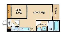 REGALEST 青江 1階1LDKの間取り