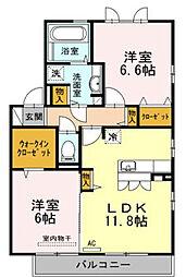 愛媛県松山市西石井6丁目の賃貸アパートの間取り
