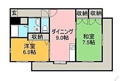 宮崎県宮崎市京塚1丁目の賃貸マンションの間取り