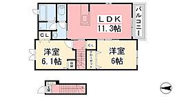スペリオーレ 2階2LDKの間取り