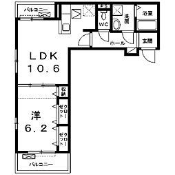 神奈川県座間市相模が丘3丁目の賃貸アパートの間取り