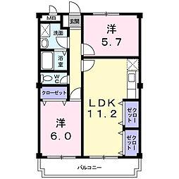 静岡県浜松市中区高丘西3丁目の賃貸マンションの間取り