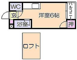 プチクローバー 2階ワンルームの間取り