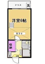 東京都世田谷区粕谷2丁目の賃貸アパートの間取り