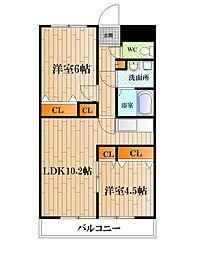 神奈川県横須賀市鴨居2丁目の賃貸マンションの間取り
