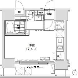 グランディオール広尾テラス 8階ワンルームの間取り