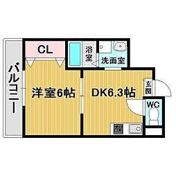 シティーコート堺東[3階]の間取り