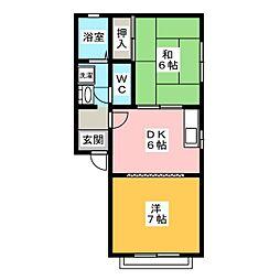 コーポYS3 A[2階]の間取り